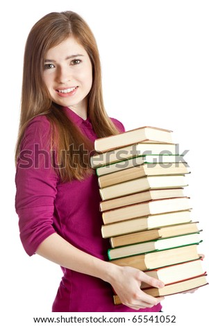 Young girl with pile of books in hands. Isolated on white background