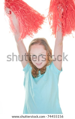 Young girl with pom poms