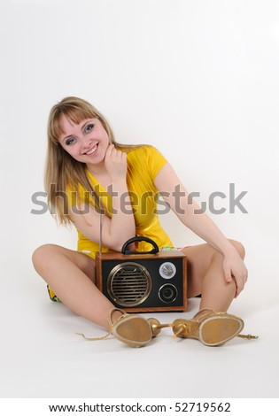 Young girl with radio