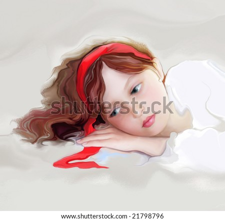 young girl with red ribbon - stock photo