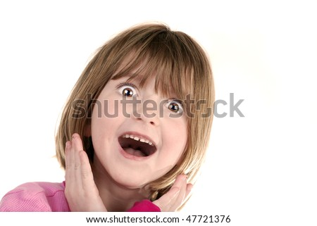 Young girl with surprised look holding hands on face