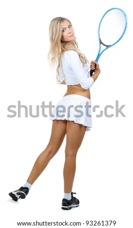 Young girl with tennis racket isolated on white - stock photo