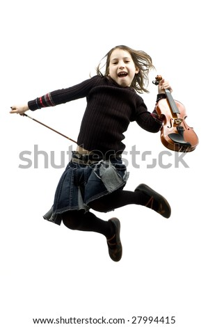 young girl with violin jumping isolated on white