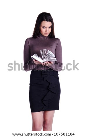 Young girl with white book wonders