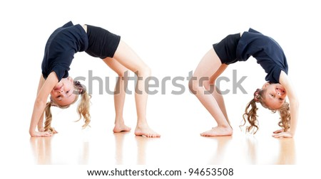 young girls doing gymnastics over white background