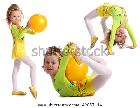 Young girls-gymnasts are shown on a white background