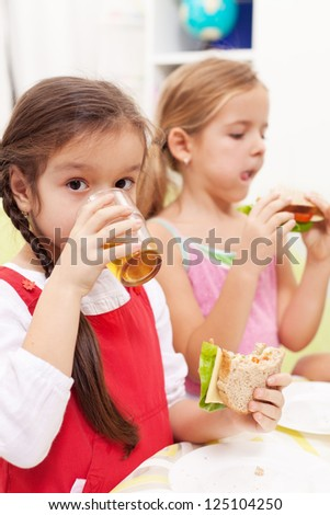 Young girls having a healthy snack