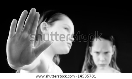 Young girls showing attitude and emotion