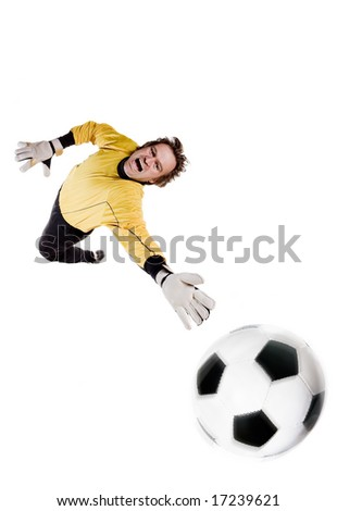 Young goalkeeper in action. Full isolated studio picture - stock photo