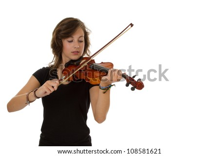 Young good looking girl standing playing the Viola