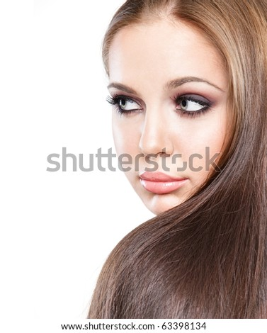 young gorgeous caucasian model with long hair posing