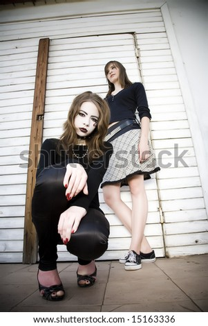 Young Goth Girl Crouching Down