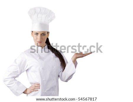 young graceful woman dressed as a cook with cap over white backgound