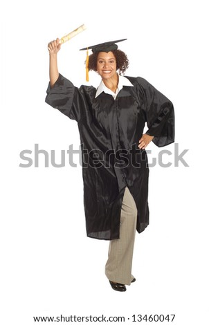 Young graduate holding up her diploma