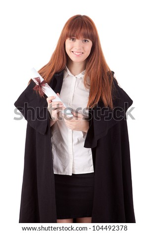 Young graduated woman in university costume