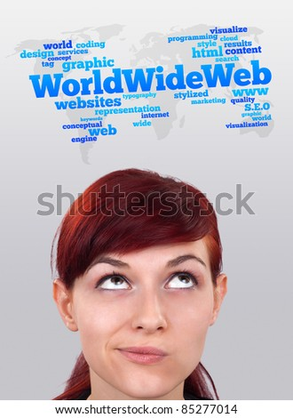 Young gril head looking with gesture at internet type of icons