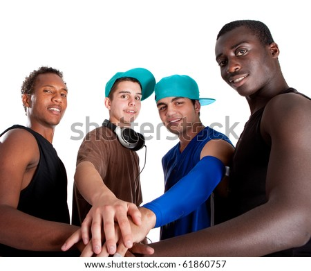 Young group of five teenagers isolated over white. Fresh young men with stylish athletivc outfit.