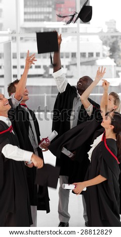 Young Group of people celebrating their Graduation