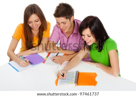 young group of people sitting at the desk, study, learning books, write, read, smile, three students, isolated over white background top angle view