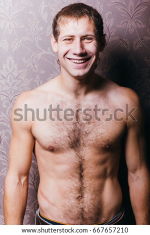 with hairy chest Young man
