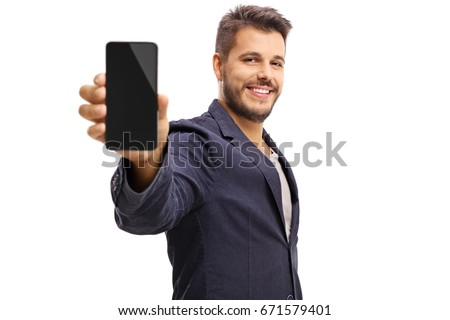 Young guy showing a phone isolated on white background #671579401
