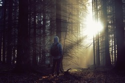 Young guy with a backpack standing in a forest in the mist at sunrise