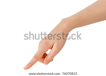 young hand in the gesture of touching, pushing, indicating