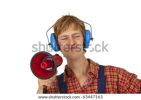 Young handcrafter with megaphone isoladet on white background
