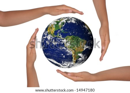 Young Hands Surrounding the Globe of the Future