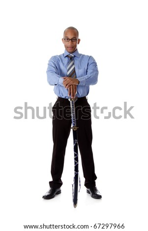 Young handsome African American businessman with a   japanese katana sword. Studio shot. White background.