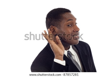 Young handsome African American listening something,eavesdropping, can't hear you concept - isolated on white background