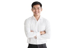 Young, handsome and friendly face man smile, dressed casually with happy and self-confident positive expression with crossed arms on white background studio shot. Concept for good attitude boy.