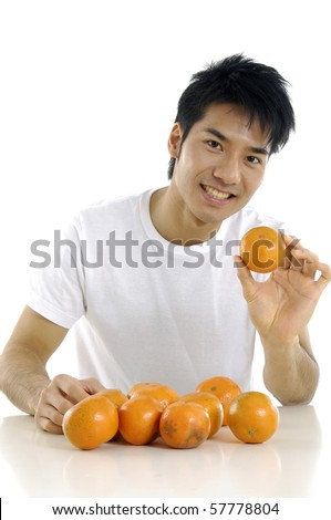 young handsome asian man with orange