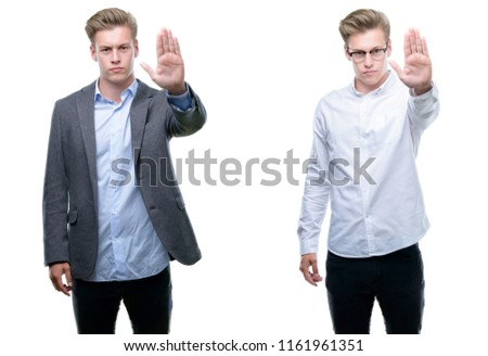 Young handsome blond business man wearing different outfits doing stop sing with palm of the hand. Warning expression with negative and serious gesture on the face.