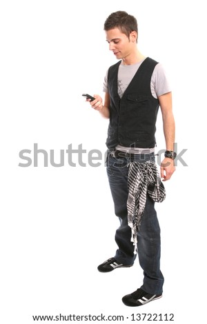 Young handsome boy calling on cellphone, isolated on white background