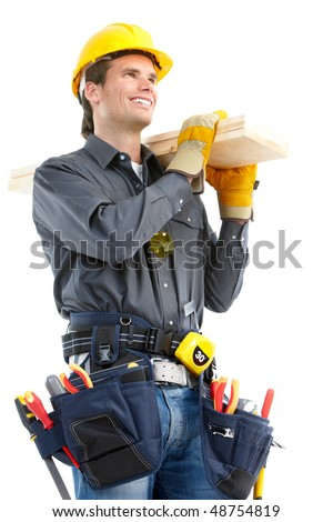 Young handsome builder worker. Isolated over white background