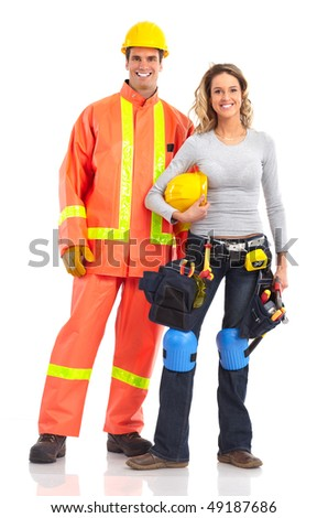 Young handsome builder workers. Isolated over white background