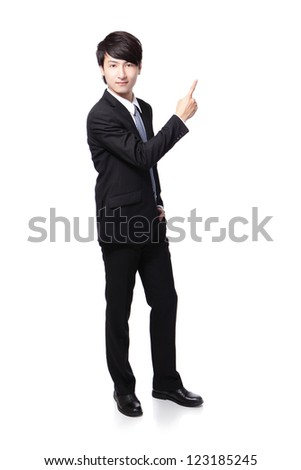 Young handsome Business man presenting by hand and finger in full length isolated over a white background, asian male model