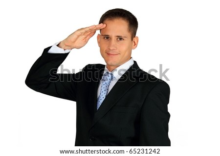 Young handsome business man saluting