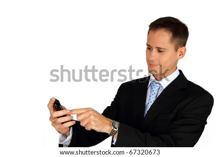 Young handsome business man using his smartphone