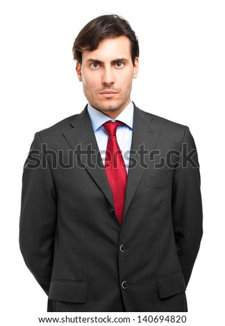Young handsome businessman portrait isolated on white