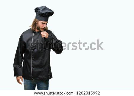 Young handsome cook man with long hair over isolated background feeling unwell and coughing as symptom for cold or bronchitis. Healthcare concept.