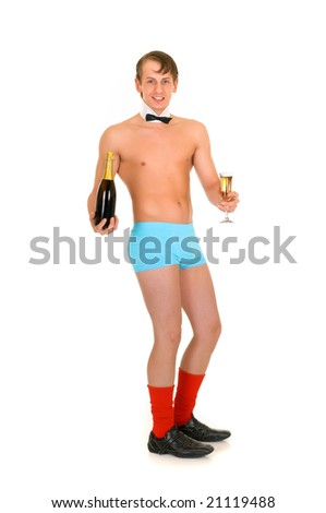 Young handsome gigolo man with champagne bottle,  Studio shot, white background
