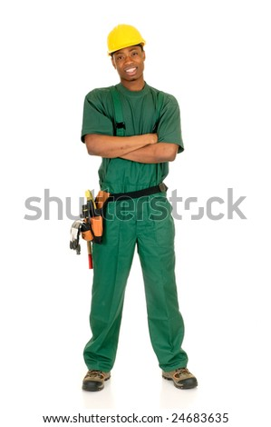 Young handsome happy black african american male construction worker with green overall and shirt. Studio shot, white background.