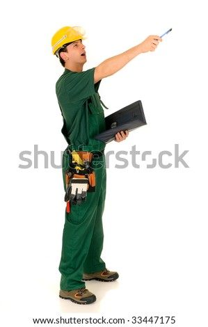 Young handsome happy male construction worker with green overall and shirt. Studio shot, white background.