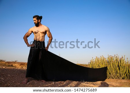 Young handsome long hair and beard Asian muscled fit male model man posing outdoor against blue sky showing his muscles - Image