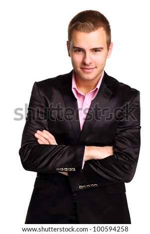 Young handsome man in black business suit - stock photo