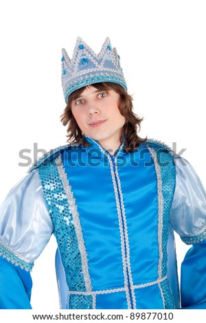 young handsome man in the costume of the prince