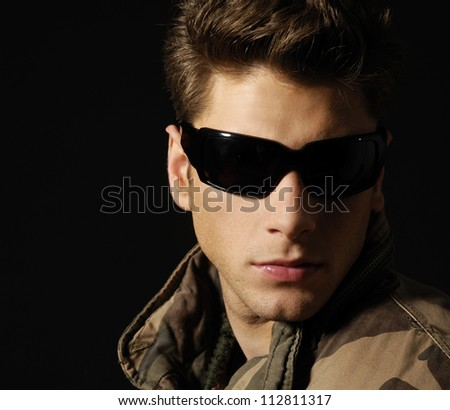 Young Handsome Man Wearing Dark Sunglasses Stock Photo ...