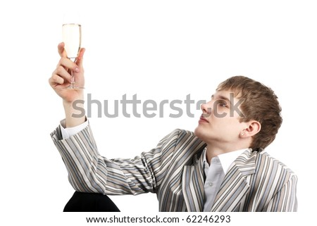 young handsome man with a glass of champagne